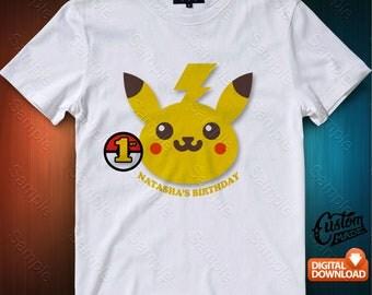 Pokemon Pikachu Iron On Transfer, Pokemon Pikachu Birthday Shirt DIY, Pokemon Pikachu Shirt Designs, Personalize, Digital Files
