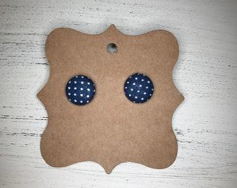 Navy and white polka dot earrings, button earrings
