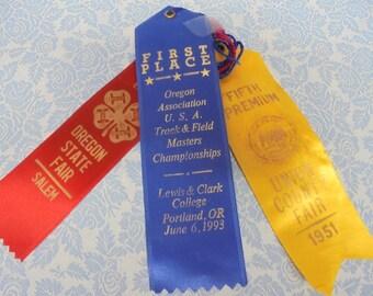 SET of six award ribbons