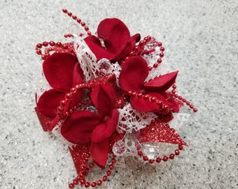 Red and White Silk Flower Wrist Corsage