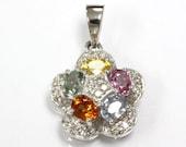 1.23 ct tw Natural Multicolor Sapphire & Diamond Gold 5 Stone Flower Pendant