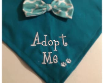 Dog Bandana, Adopt Me, Shelter dog, Personalized, pet grooming, Over the Collar, dog Scarf,  dog gift, adoption of dogs, pet fashion