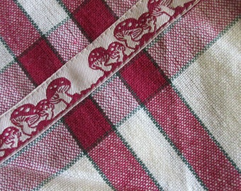 2 Mushroom Folkloric Trim Retro Kitchen Cotton Tea Towels Ivory With Burgundy Stripes