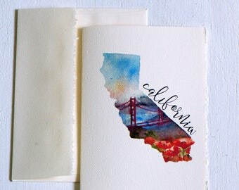 California State Map Art,Long Distance State Art Card,State Love,California Souvenir,California Art, California map, Watercolor California