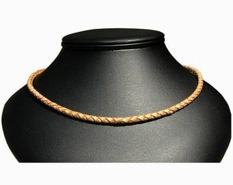 4mm Braided Tan Leather Necklace, rhodium silver plate lobster clasp