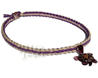 Natural and purple flat wide hemp necklace with purple glass turtle