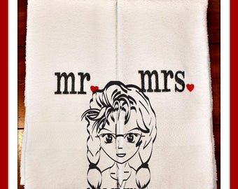 his hers mr & mrs - with Hearts Design perfect for Valenine or Wedding Gift ~ Downloadable DiGiTaL Machine Embroidery Design by Carrie