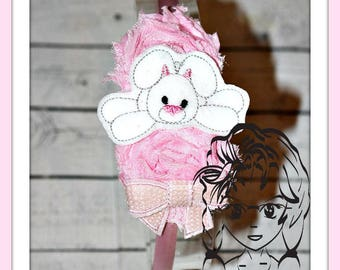 BUNNY LAZY Feltie 4 sizes add on for BOWS or other designs ~ In The Hoop ~ Downloadable DiGiTaL Machine Emb Design by Carrie