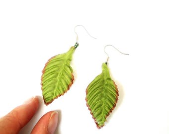 Earrings -- LEAVES, bigger size, fabric and metal by The Sausage