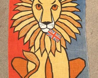Vintage Lion w/British UK Flag Linen Wall Hanging Ulster Ireland