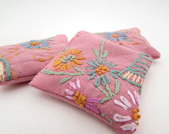 3 Dried Lavender Sachets - Rose Pink - Floral - Embroidered Sachets - Stocking Stuffers - Vintage Linens - Embroidery - Party Favors