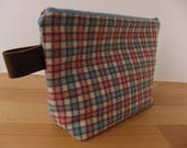 Vintage Checkered Wool and Leather Large Zipper Pouch Bag