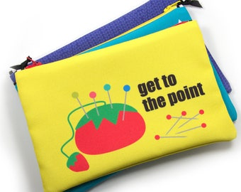 Zipper Bag, Sewing Notions Bag, Tomato Pincushion, Get to the Point