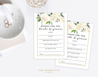 Wishes for the Bride and Groom | Printable Wishes for the Couple | Bridal Shower Game, Wedding | Brynne Collection | PDF Instant Download