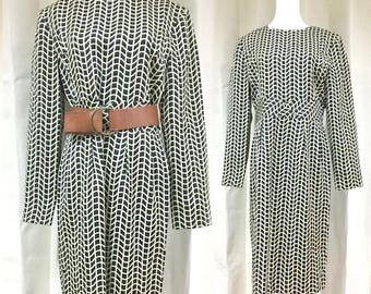 s a l e • B&W Midi Vintage Dress Long Sleeves m/l