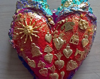 Handcrafted Decorative Milagros Heart