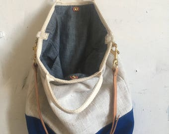 Linen and chambray full sail tote