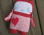 Folk art Rag Doll Clara embroidered stuffed red pink heart