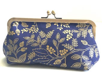 Made to Order  Wedding Clutch Bridesmaid Gift Navy Gold Floral Rifle Paper Co. Kiss-lock Frame