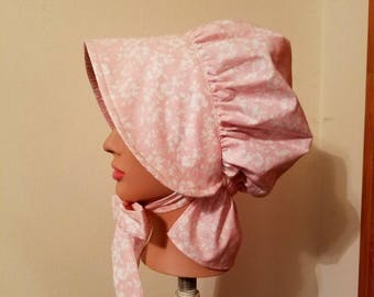 Pink and White Pioneer Bonnet for Girls