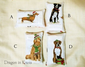 Dog Pocket Tissue Holder - Choose Dachshund, Border Collie, Golden Retriever, Boxer - Christmas pets cotton accessory for purse