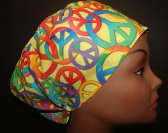 Euro Close Fit  Colorful Peace Signs Medical Surgical Scrub Vet Nurse Chemo Hat