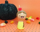 Candy Apple Girl Figurine - Collectible Miniature Clay Figure