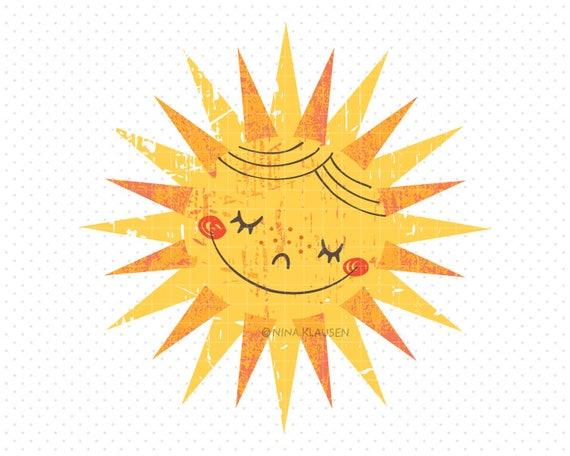 Happy Sun Clip-Art / Retro Style Weather Artwork / C0001