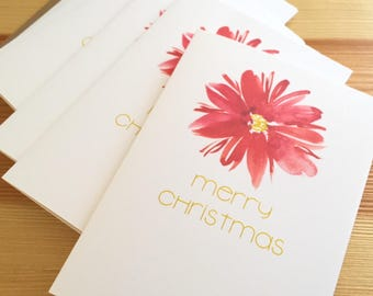 Merry Christmas Holiday Cards - Watercolor Poinsettias Holiday Cards - Holiday Botanical Greeting Cards - Christmas Cards - Box of 6