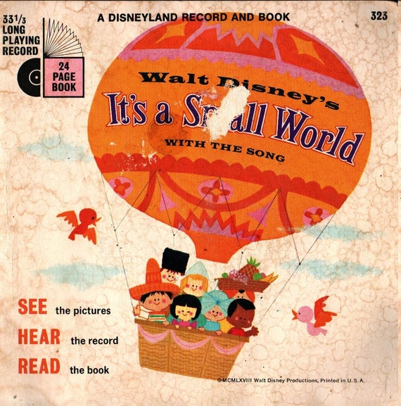 Walt Disney's It's a Small World - With the Song - 1968 - Vintage Record & Book