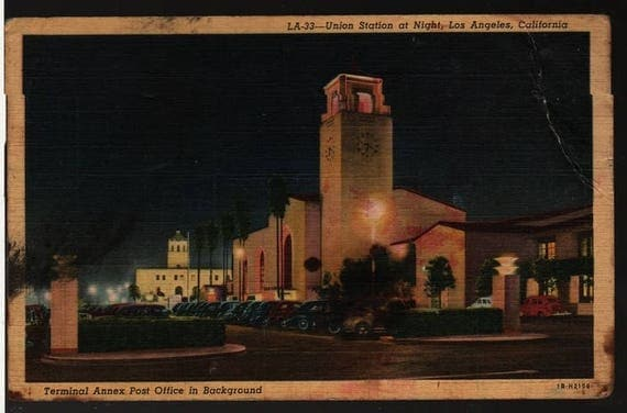 Union Station at Night – Los Angeles, California – Vintage Postcard