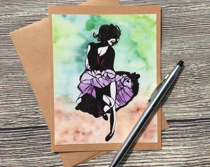 Featured listing image: Just Dance Original Watercolor Print - Kraft Note Card