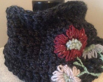 SALE Charcoal Gray Cowl with Woolly Tattoo Flowers
