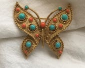 RESERVE for thebosslady - Vintage Crown Trifari Brooch Pin - Butterfly Insect Pin with Faux Coral and Turquoise Cabochons, Gold Tone 1960s