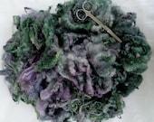 3.5oz, Bluefaced Leicester curly fleece wool, hand dyed fleece, felting wool, dolls hair, green, purple, 100g, 100% wool,