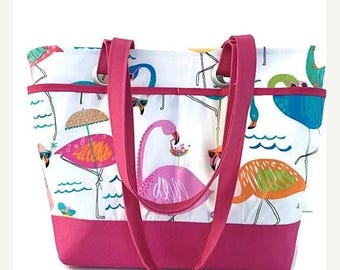 SALE large beach bag, tote, flamingo, whimsical, pink, travel tote, waterproof, vacation bag, gift for women, gift for mom