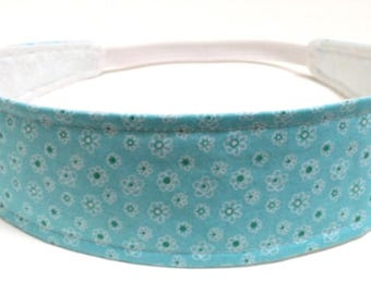 Little Girls Floral Headband, Kids, Baby, Toddler, Reversible Fabric Headband, Blue, Green, Floral Headband - LIBBY