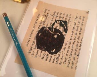Hand printed blank greeting card original linocut inked art print up upcycled mixed media grapes shabby chic decor farm