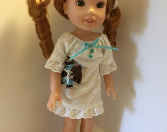 14.5 inch doll clothes polka dot nightdress with matching slippers and teddy bear fits dolls such as Wellie Wishers