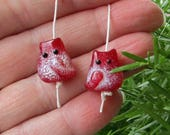 Snowy Kitten Bead Handmade Lampwork Earring Pair by teribeads - Red and White Tiny FatCat Twins Earring Pair