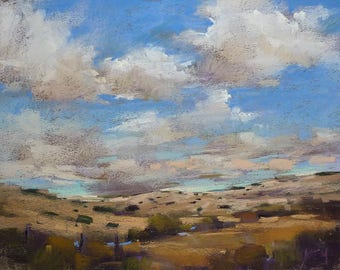 Dramatic Southwest Landscape Desert Clouds  Original Pastel Painting 9x12