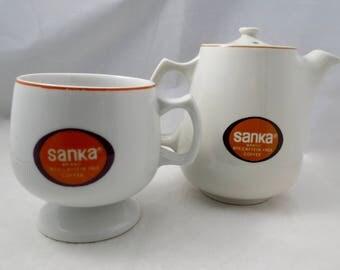 Vintage Sanka Coffee Pot and Cup - Hall China - Retro Restaurant Ware - 1960s Mid Century Tableware, Decaffeinated Coffee Set,