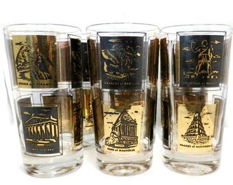 Vintage Seven Wonders of the World Glasses, Mid Century Gold and Black Drinking Glasses,  Frank Maietta Highball Barware,  Set of 6
