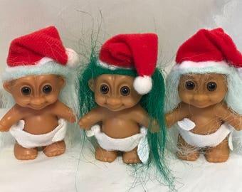 "Vintage Christmas Baby Russ Troll Original doll 2"" tall Pick one"