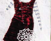 Art quilt, textile art, Safety Pin Dress No. 2, red velvet