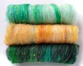 Smoothish Art Batt Set- 'J25-02'- 5.1 oz Spinning, Felting, Weaving, Papermaking Fiber