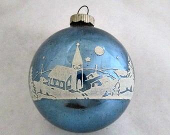 Vintage Shiny Brite Glass Christmas Ornament  - 1950's Blue Village Church Stencil Mid Century Ornament