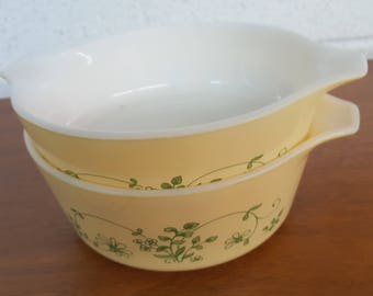 Vintage Shenandoah Pattern Pyrex Casserole Dishes Bowls Set of Two Collectible Serving Dining #471-B #472-B