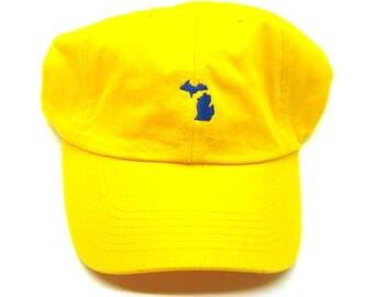 Clearance - Sale - Gift - Gracie Designs Hat - Navy on Yellow Michigan Dad Hat