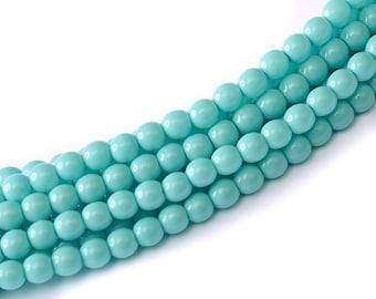 3mm Elegant Shiny Turquoise Glass Pearls 50 pcs